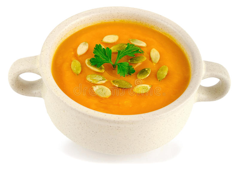 Vitamin fresh pumpkin soup isolated on a white background stock photos