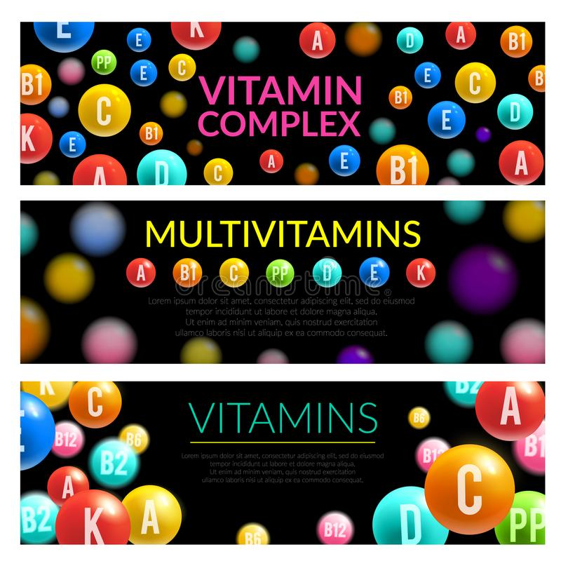 Vitamin complex of dietary supplement 3d banner. Vitamin and mineral complex 3d banner of dietary supplement and medicines. Multivitamin pill and capsule in royalty free illustration