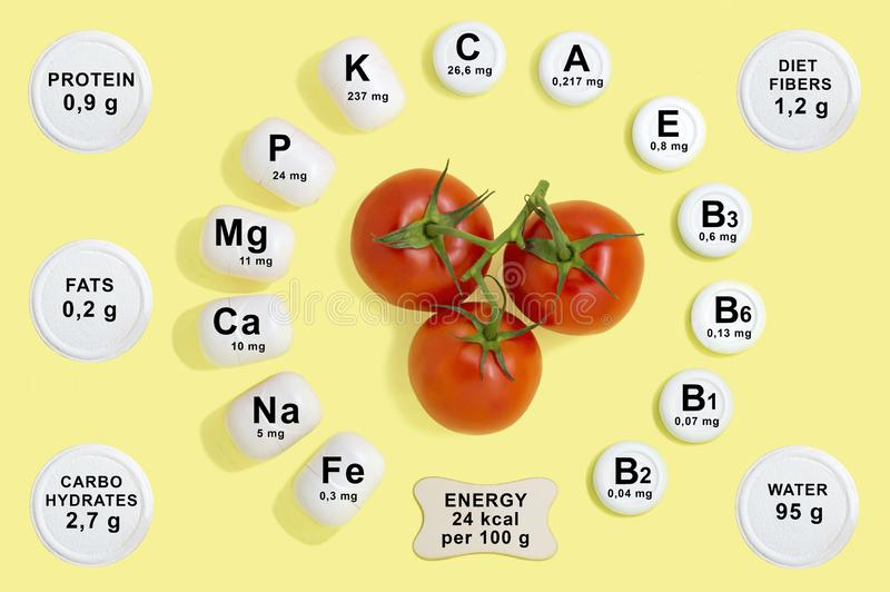 Vitamin and mineral composition in tomato royalty free stock photos