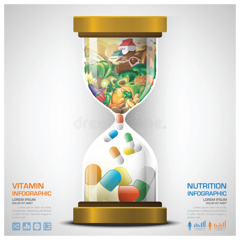 Vitamin And Nutrition Food With Sandglass Infographic. Design Template stock illustration