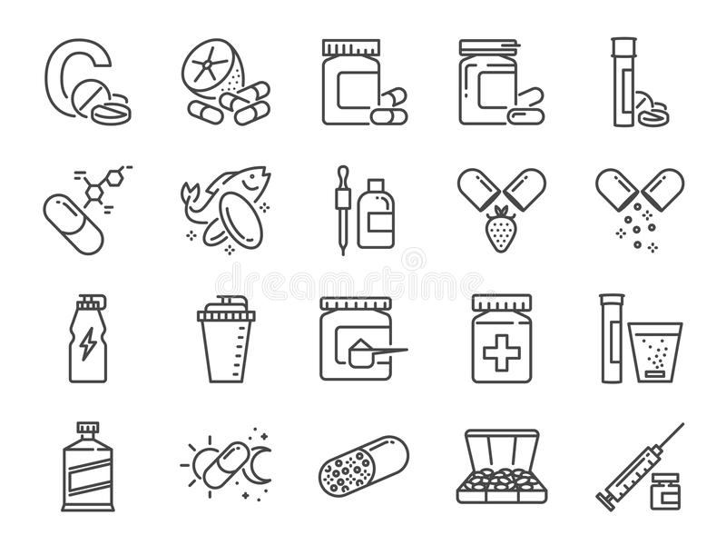 Vitamin- och diet-tilläggsymbolsuppsättning Inklusive symbolerna som vitamin c, fiskolja, vasslaprotein, minnestavla, preventivpi vektor illustrationer