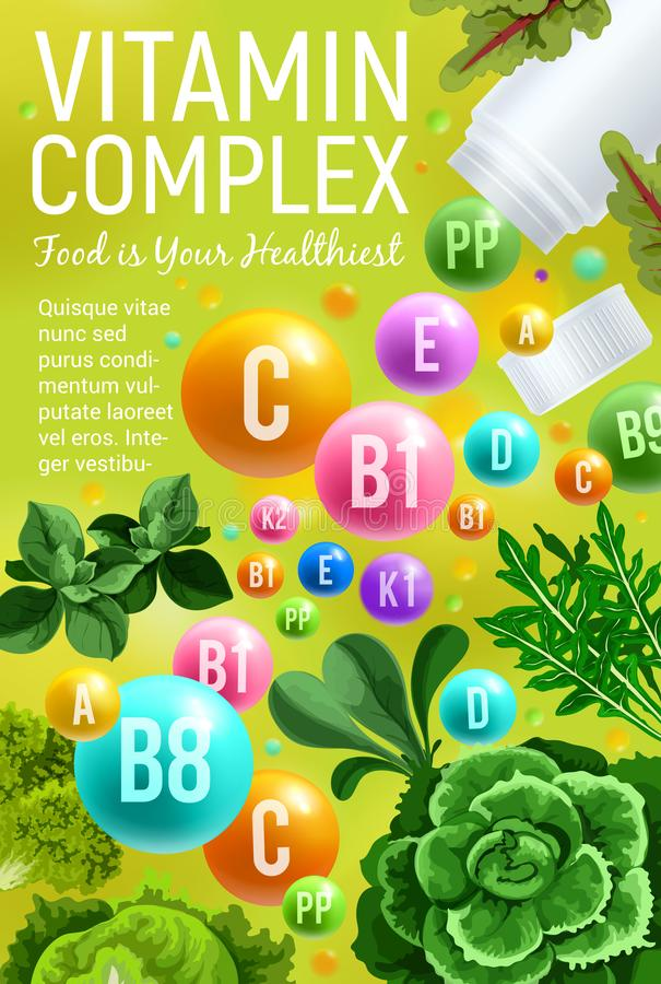 Vitamin och mineral i veggies och ört stock illustrationer