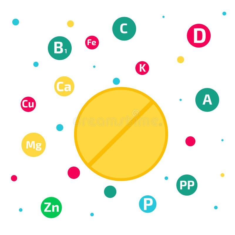Vitamin- och mineralbakgrund också vektor för coreldrawillustration royaltyfri illustrationer