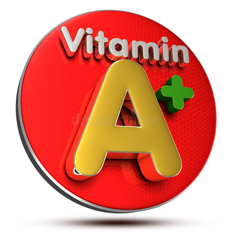 Vitamin A plus.with Clipping Path. Vitamin A+ 3D rendering on white background stock illustration