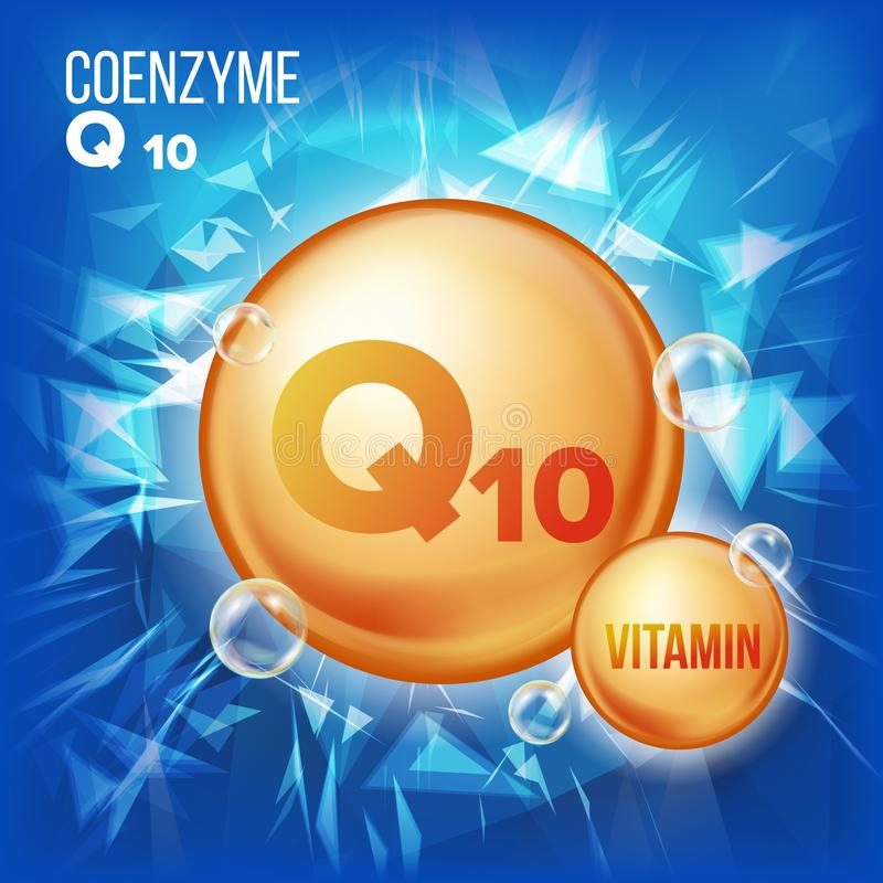 Vitamin Q10 Coenzyme Vector. Organic Vitamin Gold Pill Icon. Medicine Capsule, Golden Substance. For Beauty, Cosmetic. Heath Promo Ads Design. 3D Vitamin stock illustration