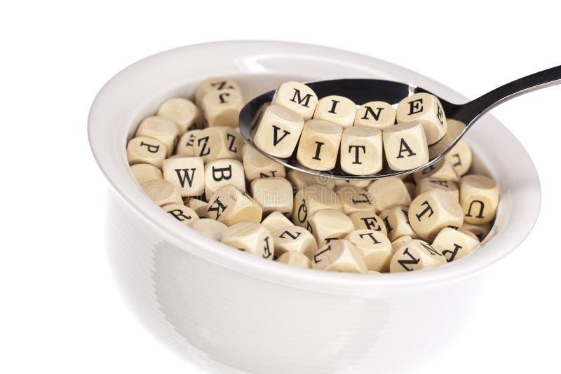 Vitamin-rich alphabet soup royalty free stock photography