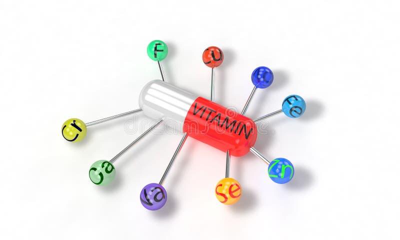 Vitamin schaffen Elementkonzept, 3d übertragen stock abbildung
