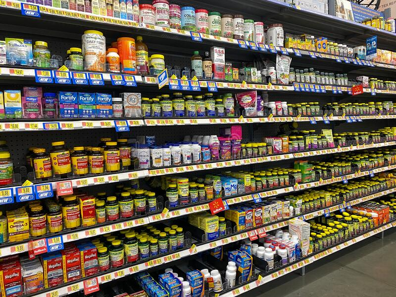 The Vitamin And Supplement Aisle Of A Walmart Superstore Editorial  Photography - Image of care, medical: 172155507