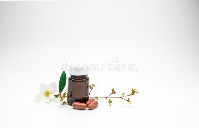Vitamin and supplement capsule pills with flower and branch and blank label amber glass bottle on white background with copy space royalty free stock photo