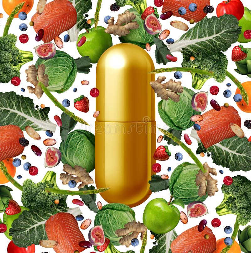 Vitamin Food Supplement. Vitamin supplement and food nutrition pill as a natural nutrient pill with vegetables fruit nuts and beans inside a pharmaceutical vector illustration