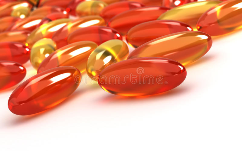 Vitamin Supplements. On white background (Computer generated image