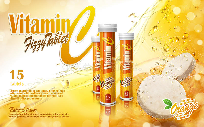 Vitamin tablet ad. Vitamin tablet with golden juice elements, 3d illustration stock illustration