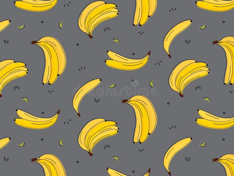 Vitamin tasty bananas pattern. Tropical food vegetarian organic background. Exotic banana drawing. Yummy beach summer vector illustration