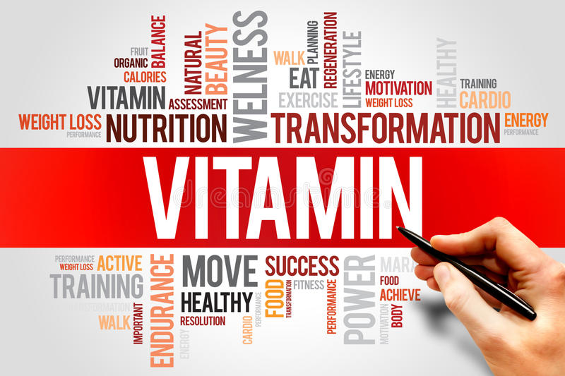 VITAMIN. Word cloud, fitness, sport, health concept royalty free stock image