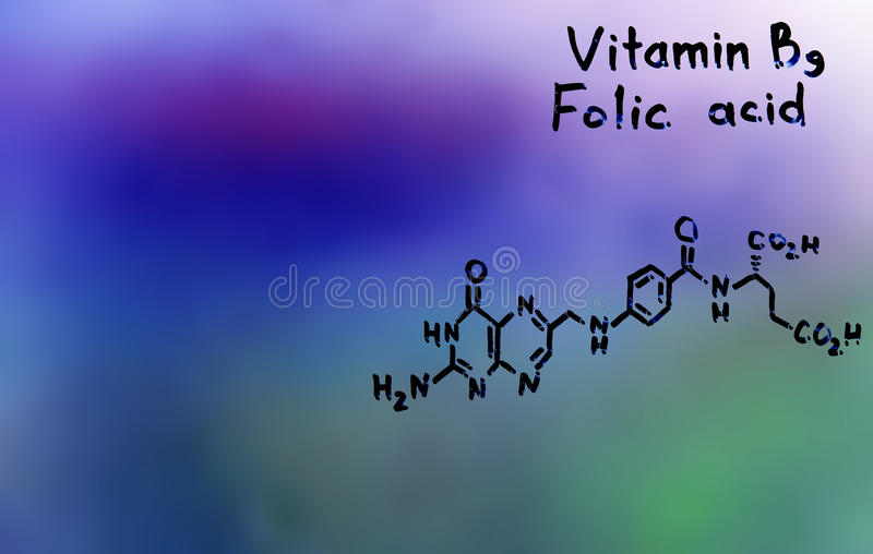 Vitamina B9, fórmula, vitaminas foto de stock