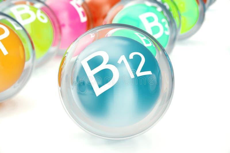 Vitamina B12, isolada no fundo branco Símbolo da saúde e da longevidade, rendição 3d ilustração do vetor