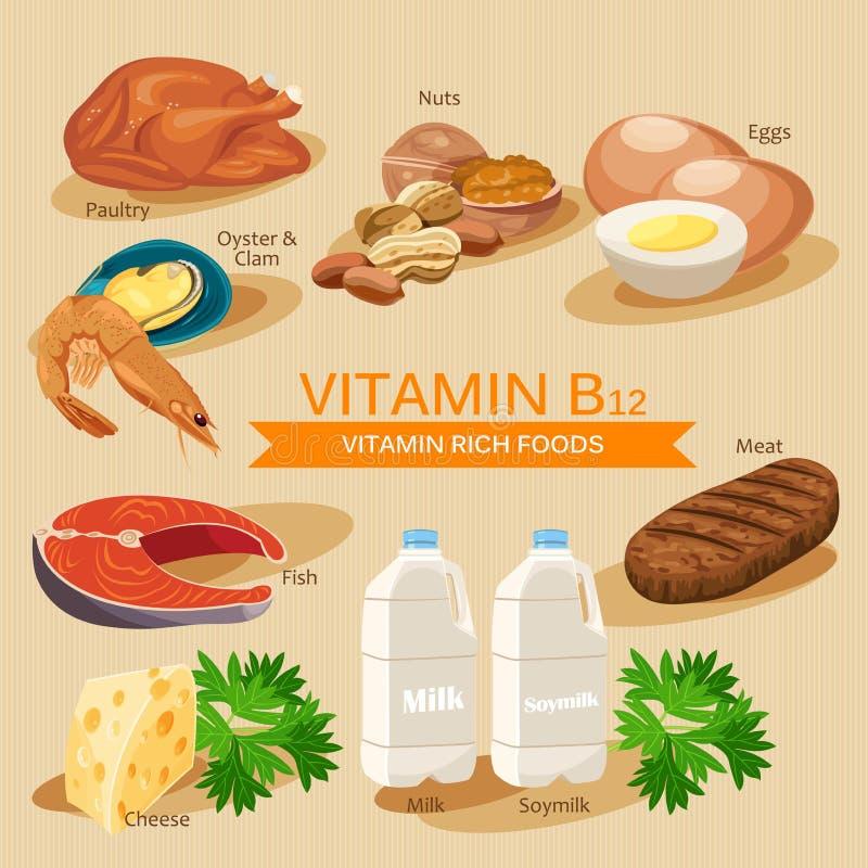 Vitamina B12 Vitaminas y comidas de los minerales Diseño gráfico de los iconos planos del vector Ejemplo del jefe de la bandera libre illustration