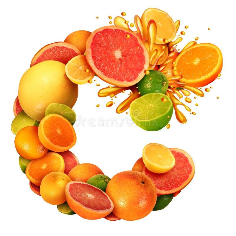 A vitamina C como o conceito do texto do citrino como um grupo de fruto com limões das laranjas cimenta tangerinas e toranja como ilustração stock