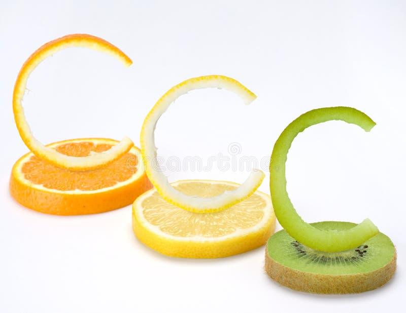 A vitamina C frutifica horizontal fotografia de stock royalty free