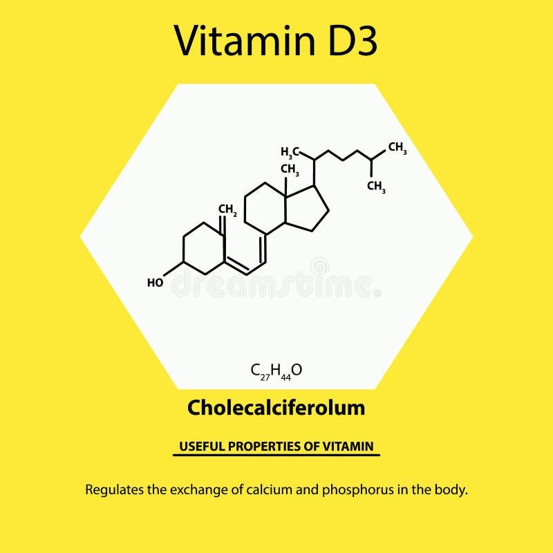 Vitamina D3 F?rmula qu?mica molecular de Cholecalciferolum Propriedades ?teis da vitamina Infographics Vetor ilustração royalty free