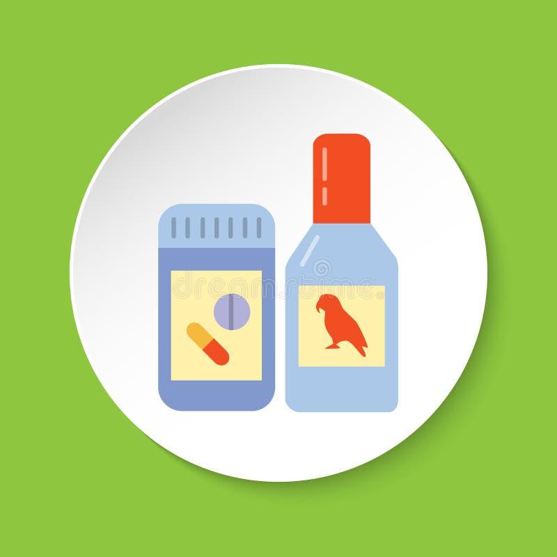 Vitamina do pássaro ou ícone da medicina no estilo liso ilustração do vetor