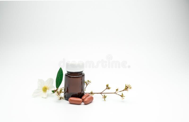 A vitamina e o suplemento encerram comprimidos com flor e ramo e anulam a garrafa de vidro ambarina da etiqueta no fundo branco c foto de stock royalty free
