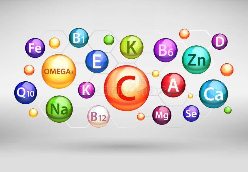 A vitamina essencial e o complexo mineral, vector a ilustração realística ilustração stock