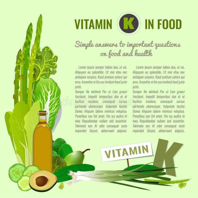 Vitamina K en comida ilustración del vector