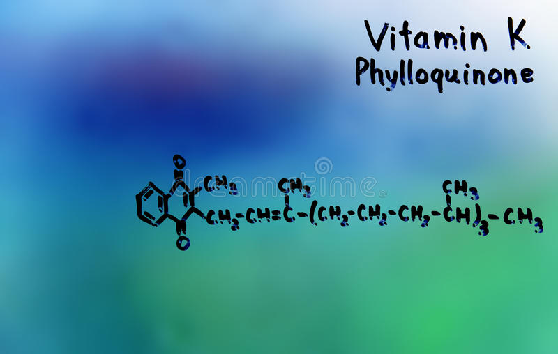 Vitamina K, fórmula, vitaminas fotografia de stock