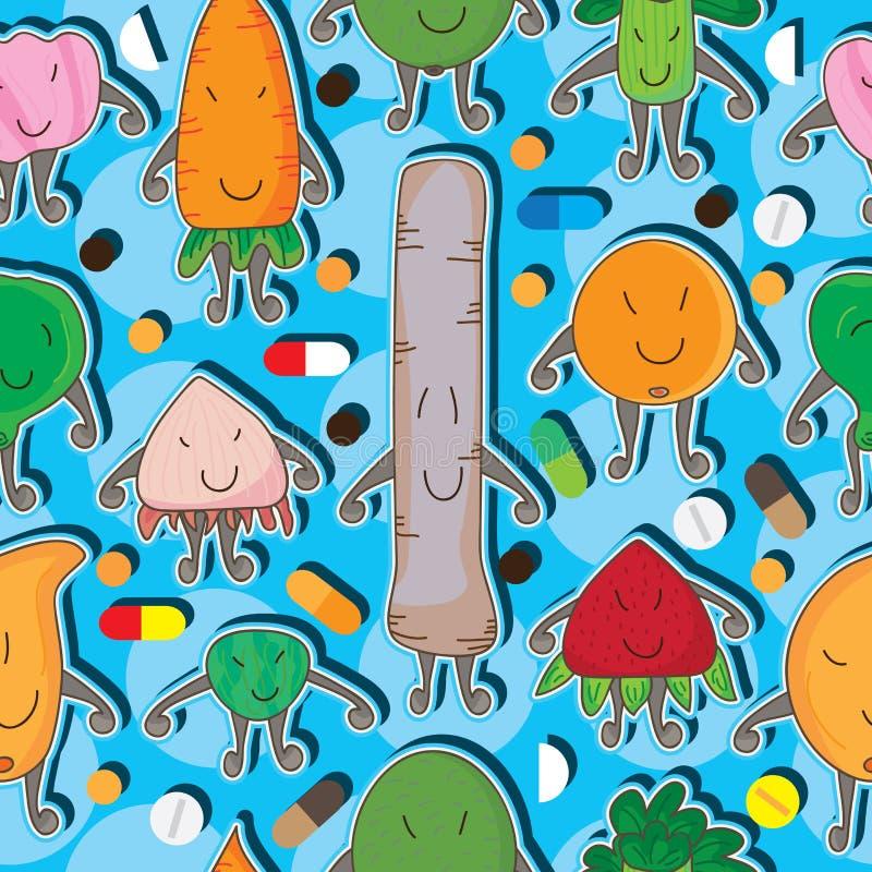 Vitamina Pattern_eps sem emenda do brinquedo do alimento ilustração stock