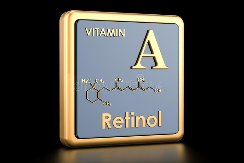 Vitamina A, retinol Icono, fórmula química, estructura molecular libre illustration