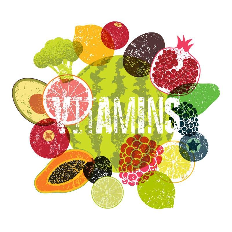 Vitaminas Cartel del estilo del grunge de la fruta Colección de frutas y verduras retras Ilustración retra del vector stock de ilustración