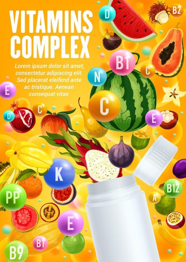 Vitaminas complejas en frutas tropicales y bayas ilustración del vector
