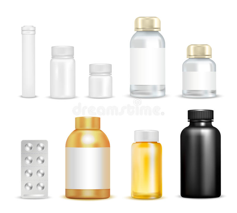 Vitaminas da medicamentação que empacotam o grupo ilustração royalty free