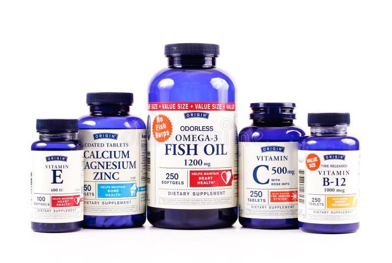 Vitaminas de la marca de fábrica del origen imagen de archivo