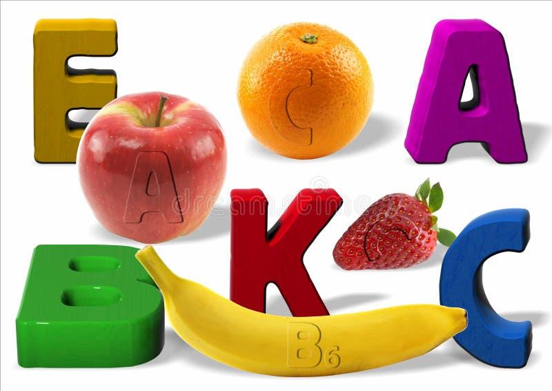 Vitaminas e frutas ilustração stock