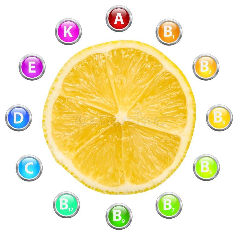 Vitaminas saudáveis do limão da vida ilustração stock