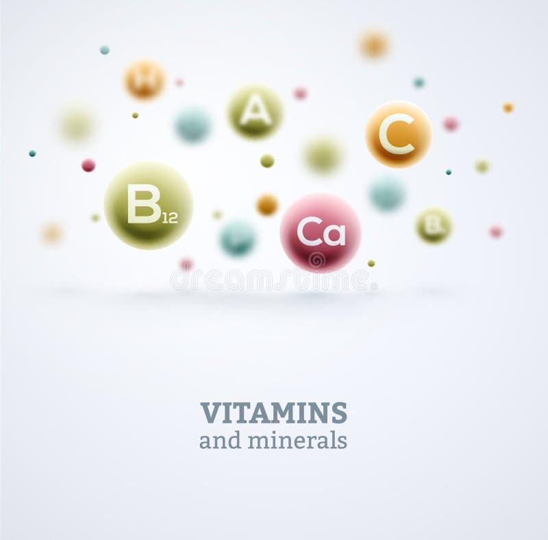 Vitaminas y minerales stock de ilustración