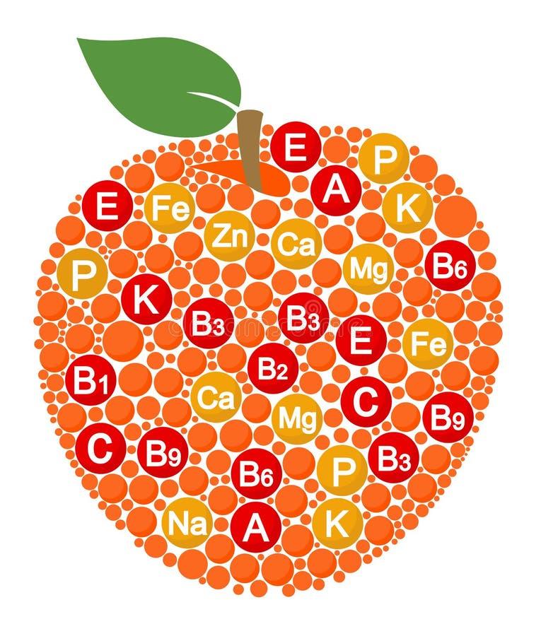 Vitaminas y minerales de la manzana Infographics sobre los alimentos en fruta de la manzana Ejemplo del vector sobre la manzana,  libre illustration