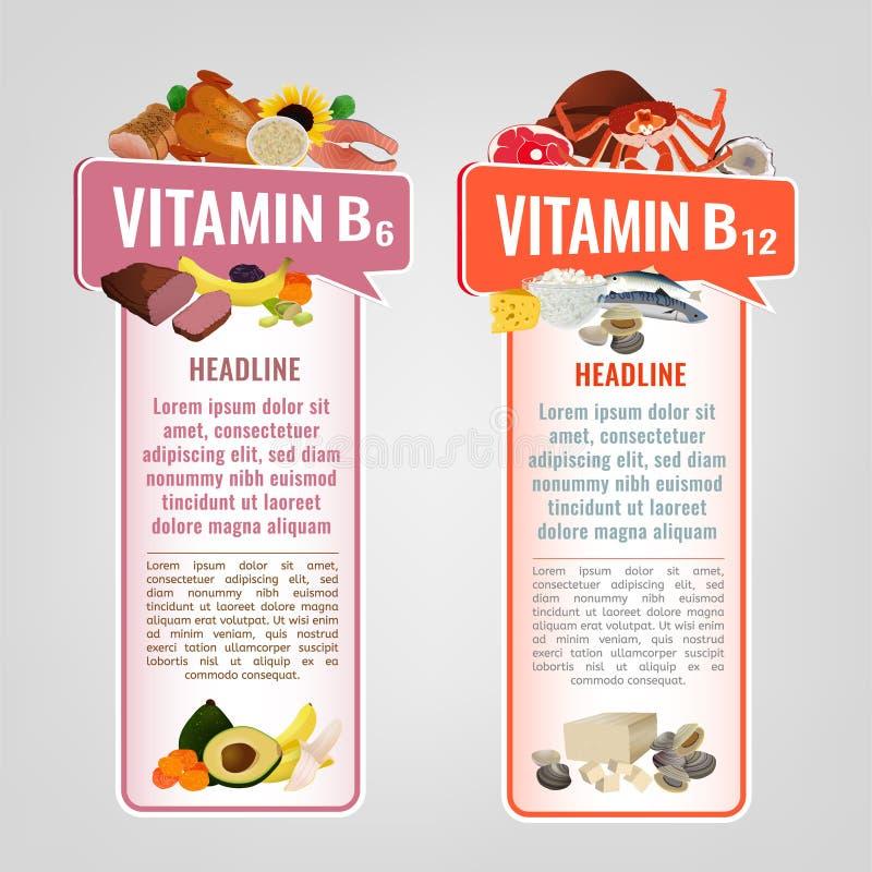 Vitaminbaneruppsättning vektor illustrationer