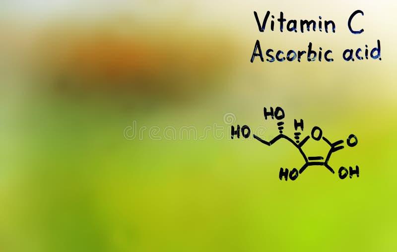 Vitamine C, formule, vitamines photographie stock libre de droits