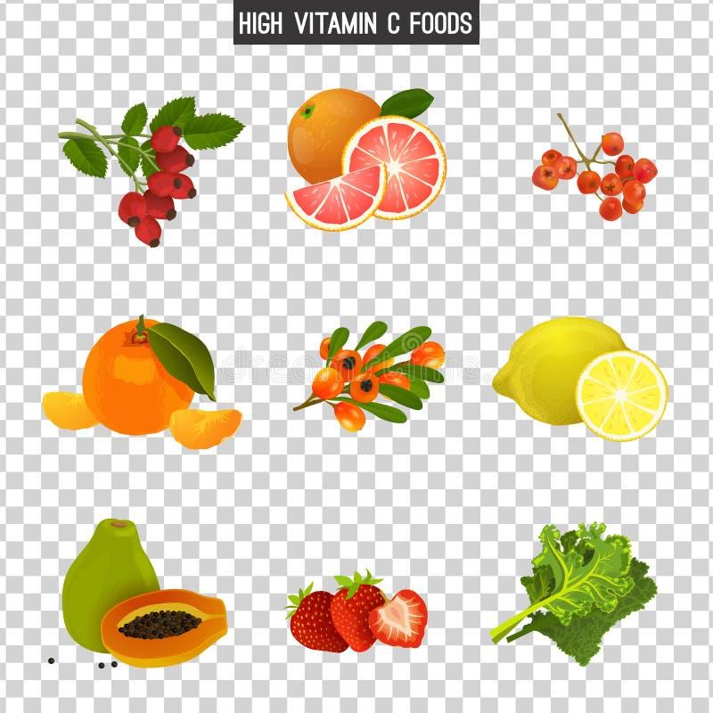 Vitamine C in voedsel stock illustratie