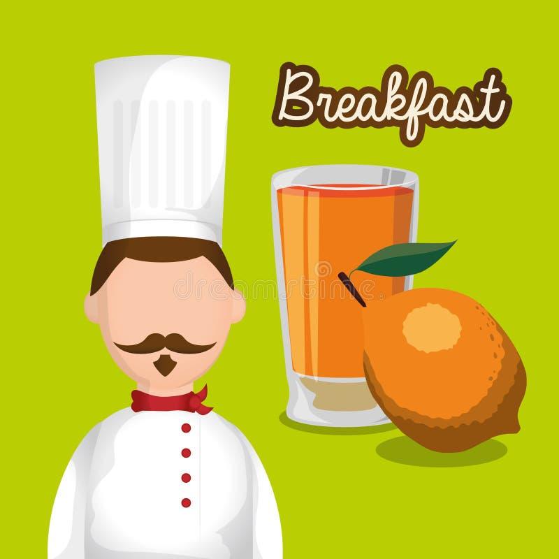 vitamine de fruit de jus d'orange de chef d'homme de petit déjeuner illustration de vecteur