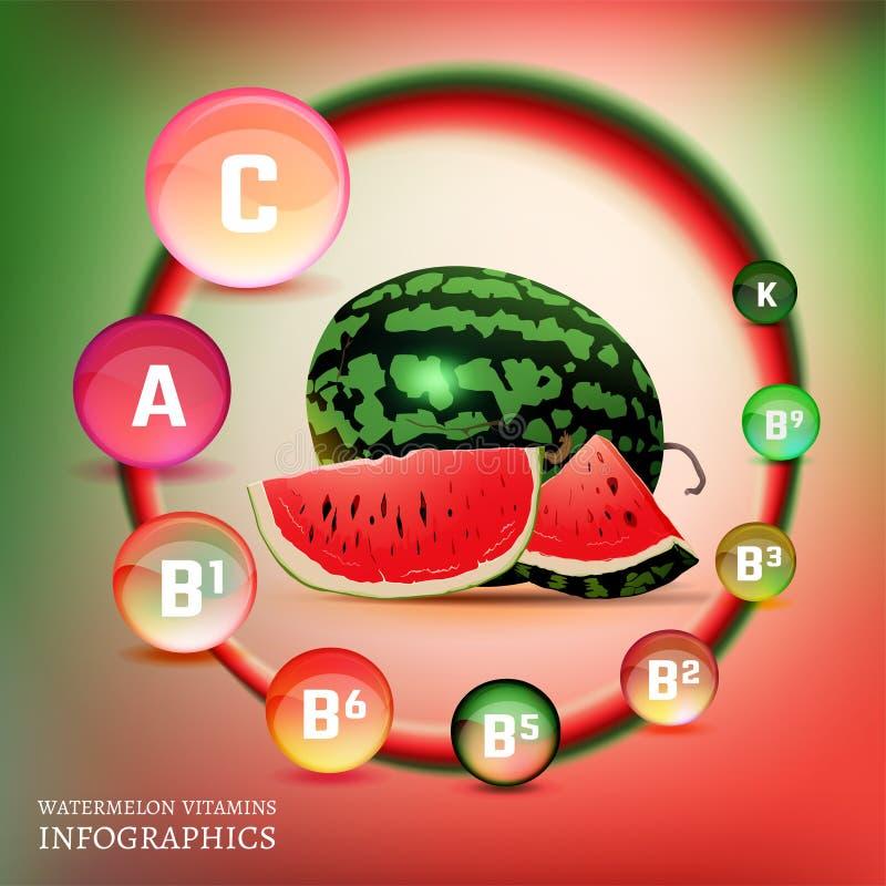 Vitamine de pastèque infographic illustration stock