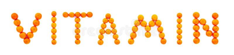 Vitamine de Word pliée des mandarines d'isolement sur le fond blanc photo libre de droits