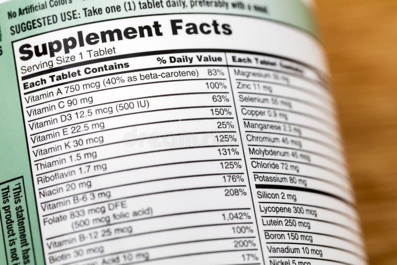 Vitamine dell'etichetta della bottiglia della lista della vitamina di fatti di supplemento immagine stock