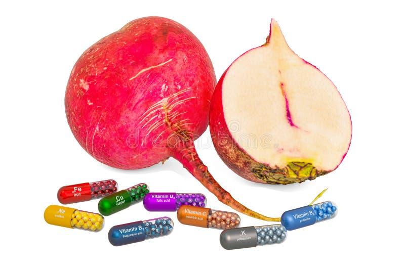Vitamine e minerali del ravanello rosso di grandi dimensioni, rendering 3D fotografie stock libere da diritti