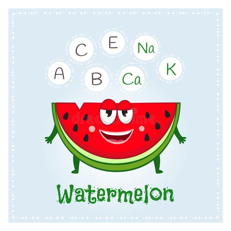 Vitamine e minerali della frutta dell'anguria Carattere divertente della frutta Illustrazione sana dell'alimento illustrazione di stock
