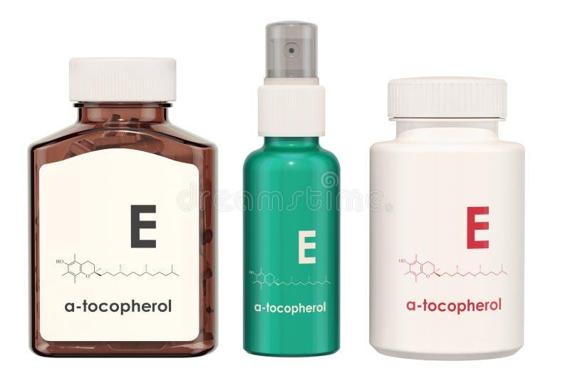 Vitamine E, tocoferol Medische flessen met pillen en nevel bot vector illustratie