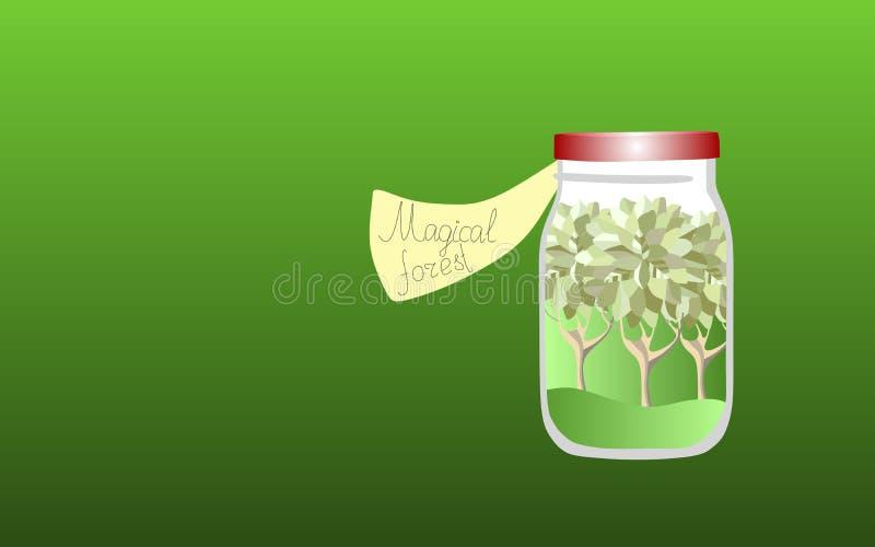 Vitamine für die Seele 3 Allegorische Illustration Medizin für die Seele Magischer Wald stock abbildung